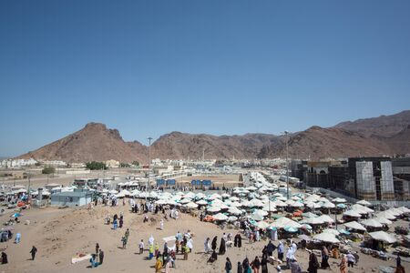 MEDINA, SAUDI ARABIA - APRIL 20, 2016 : Mount Uhud Is A Mountain North Of Medina, Saudi Arabia. It Is 1,077 m (3,533 ft) High And Was The Site Of The Battle of Uhud Which Was Fought On 19 March, 625 AD Editorial