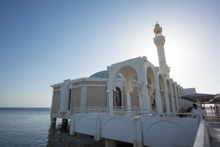 JEDDAH, SAUDI ARABIA - APRIL 28, 2016 : Ar Rahmah Mosque Or Floating Mosque. Constructed On The Coast Of The Red Sea, The Majestic Mosque Appears To Be Floating Due To It Being Built On Pillars. Editorial