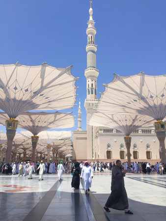 MEDINA, SAUDI ARABIA - APRIL 19, 2016 : Prophet Muhammad Mosque In Medina. Al-Masjid An-Nabawi (Prophets Mosque) Is A Mosque Established And Originally Built By The Prophet Muhammad PBUH, Situated In The City Of Medina In Saudi Arabia.