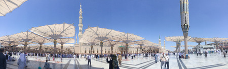 MEDINA, SAUDI ARABIA - APRIL 19, 2016 : Prophet Muhammad Mosque In Medina In Panorama Mode. Al-Masjid An-Nabawi (Prophets Mosque) Is A Mosque Established And Originally Built By The Prophet Muhammad PBUH, Situated In The City Of Medina In Saudi Arabia