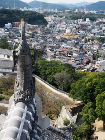 gutter: View from Himeji Castle overlooking the city.