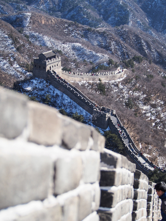 invader: A shallow depth of field emphasises the details of the Great Wall of China.