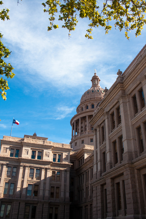 The exterior of the Texas State Capitol building in downtown Austin, Texas.
