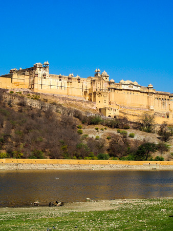 A view of the Amber Fort overlooking a pond in Jaipur, India.