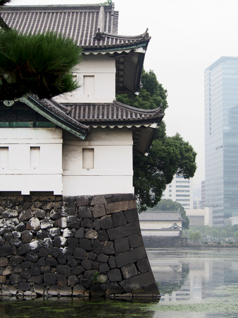 imperialism: A traditional Japanese building stands out against modern skyscrapers in downtown Tokyo Japan. Editorial