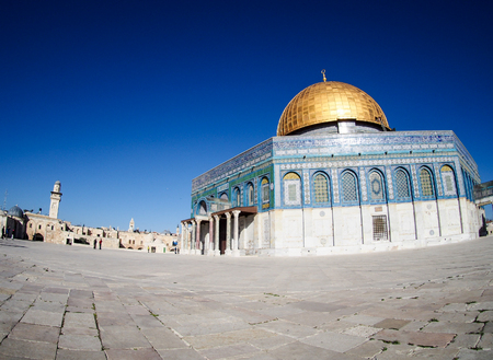 A fish-eye view of the gold-domed mosque built on the disputed Temple Mount in Jerusalem, Israel.