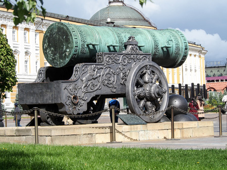 The Tsar Cannon, housed inside the Kremlin in downtown Moscow, is the largest bombard by caliber in the world.