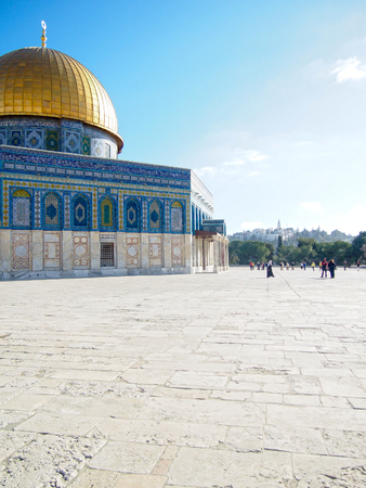 The historic landmark of the gold-domed mosque built on the disputed Temple Mount in Jerusalem, Israel.