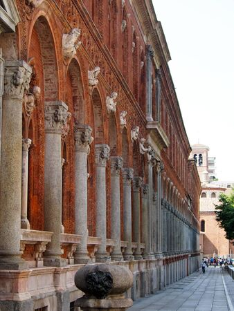 Beautiful brick facade at the University of Milan in Italy.