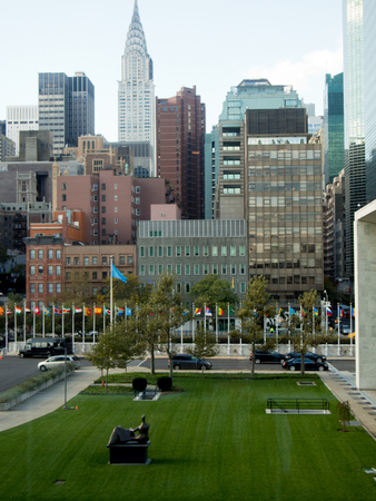 A view of downtown Manhattan from the United Nations Headquarters Building. Reklamní fotografie