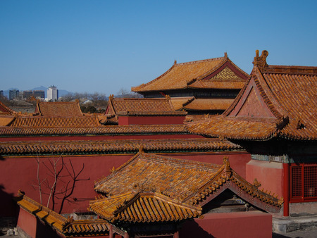 Bright orange tiled rooftops of the Forbidden Palace in downtown Beijing, China stand out against a blue sky.
