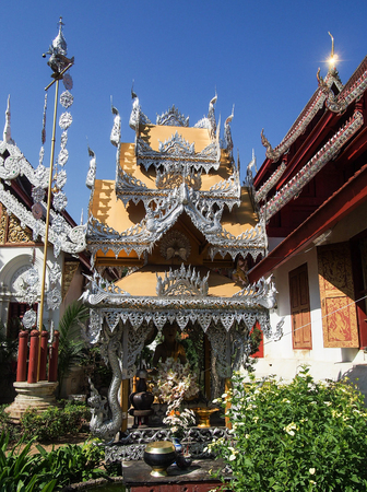 A highly decorated temple in Chiang Mai Thailand