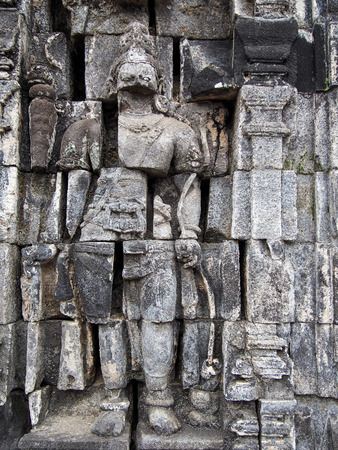 Carving at an ancient temple in Indonesia.