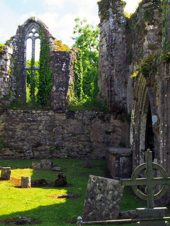 Cemetery in the remains of Bridgetown Priory near city of Castletownroche in Cork County Ireland.