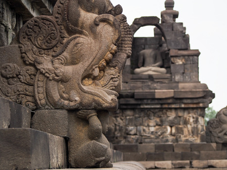 A detail of a carved relief at Borobudur Temple in Indonesia.