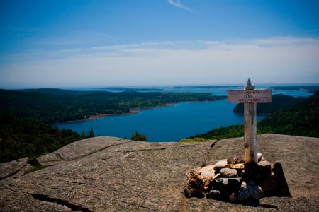 Summit marker for Acadia Mountain in Acadia National Park near Bar Harbor, Maine.