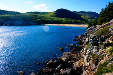 A view overlooking Sand Beach in Acadia National Park near Bar Harbor, Maine.