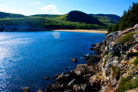 A view overlooking Sand Beach in Acadia National Park near Bar Harbor, Maine.