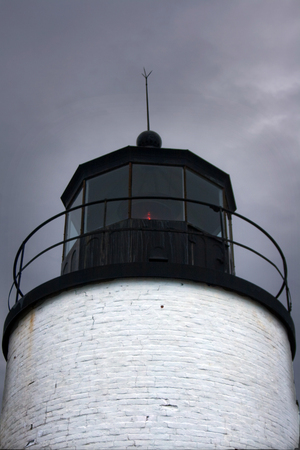 Detail of the lamp of Bass Harbor Lighthouse near Bar Harbor Maine.