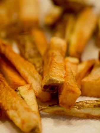 Closeup shot of homemade potato french fries.
