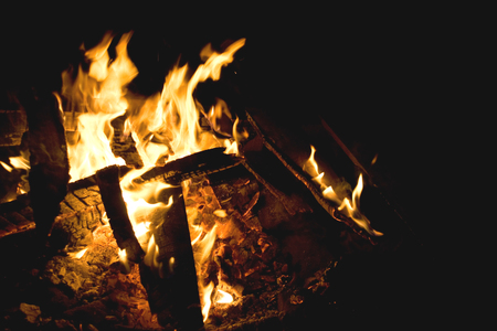Flames of a campfire against a black background at night.