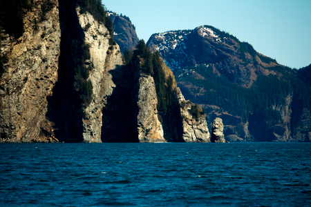 Rocky outcroppings on the coast of Sewar, Alaska.