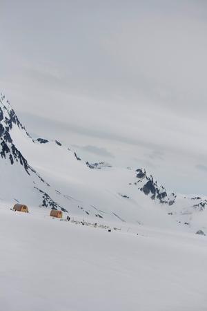 A camp set up on a glacier for dog-sledding tours near Seward, Alaska. Standard-Bild