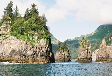 Rocky outcroppings on the coast of Sewar, Alaska.