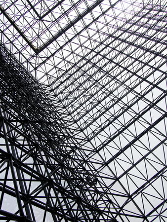 A view of the inside of the architectural structure of the John F. Kennedy Presidential Library in Boston.