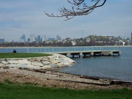 A view of the skyline across Boston Harbor in Massachusetts. 写真素材