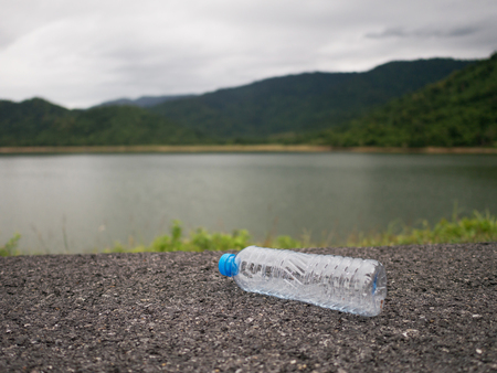 Plastic bottles on the way is dumped by tourists