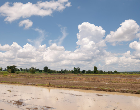 Plowed field Ready for planting. Clouds moving on the blue sky. farmland Landscape
