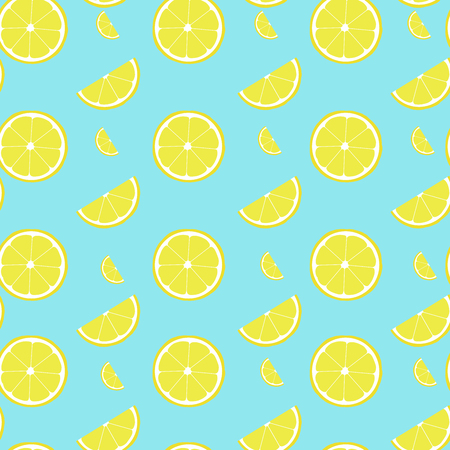 Lemon seamless pattern with half and slice. Vector illustration fof decoration.