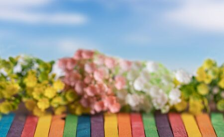 Plastic flowers in line on the colorful wooden and blue sky. Blurred textured and backgrounds. Stock Photo