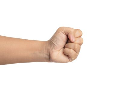 Handful of women isolated. Show a hand with clenched fist fingers on white background.