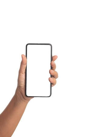 Human hand holding a black smartphone isolated on a white background. Females take a mobile with empty a monitor use for something. Stock fotó