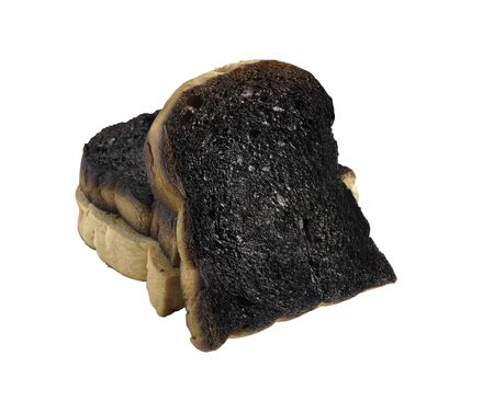3 Burnt toast slices isolated on a white background with clipping paths.