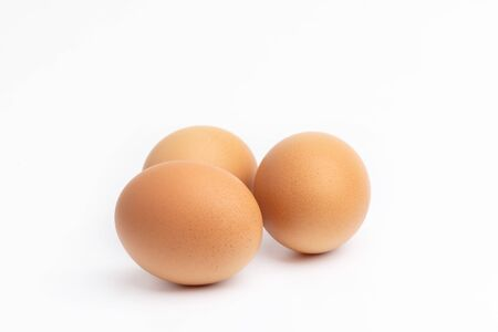 3 eggs on a white backgrounds.