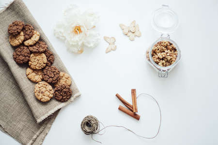 Homemade oatmeal cookies with cinnamon on white background. Healthy Food Snack. High quality photo