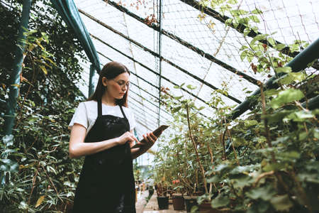 Young woman gardener in glasses and apron with digital tablet working in a garden center for better quality control. Stock fotó