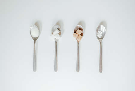 Different types of sugar. Copy space. Top view.