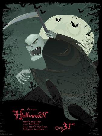 reaper: Vector Grunge Halloween gruselig Vorlage mit Sensenmann, Flederm�use, Friedhof, Bugs und copyspace Illustration