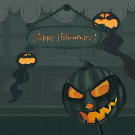 monsters house: Vector Halloween template. Background inside haunted house with Jack o