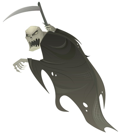 Vector grim reaper. Death scary Halloween character with scythe.
