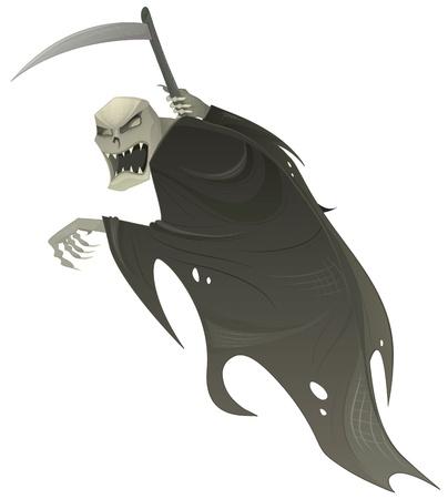 reaper: Vector Sensenmann. Tod scary Halloween Figur mit Sense. Illustration