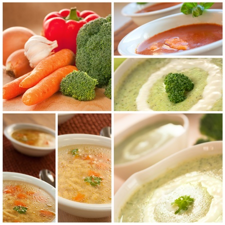 broccolli: Collection of vegetable soup including tomato,  broccoli  and noodle soup. Stock Photo