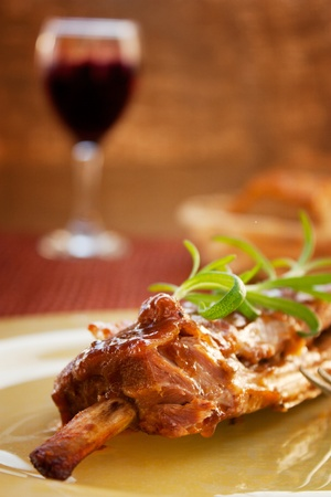 Veal ribs with gravy, rosemary and red winw. photo