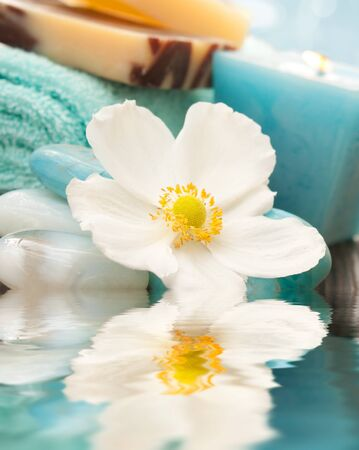 Spa setting with flower and blue candle photo