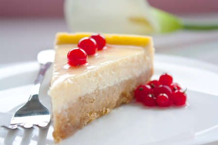 small plate: Cheese cake with cranberries on a white plate Stock Photo