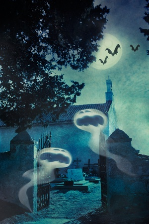 Halloween illustration with spooky ghosts  on the graveyard in front of the graveyard entrance gate and chapel, bats and full moon in the background Stock Illustration - 10635186